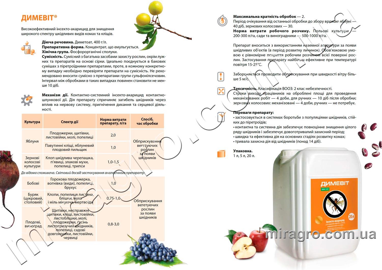 Описание инсектицида Димевит - аналог Би-58