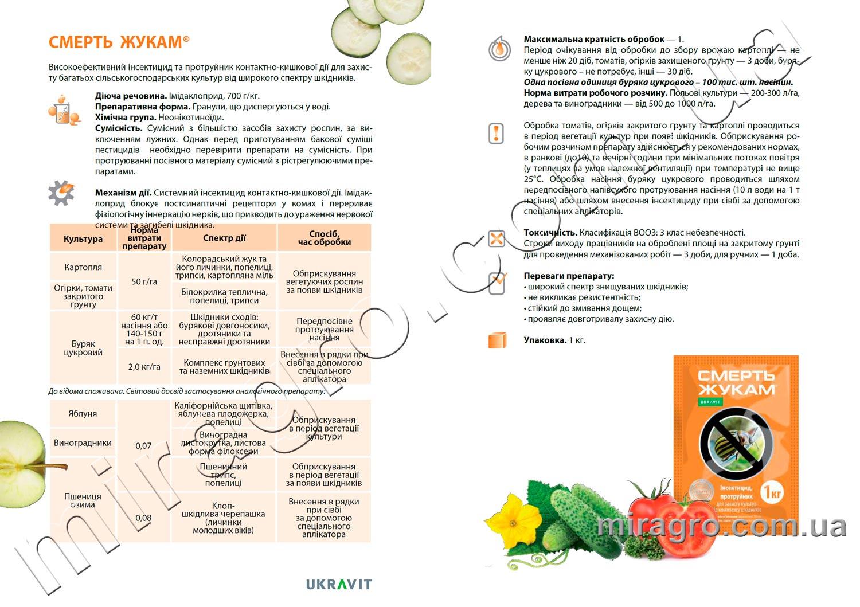 Описание инсектицида Смерть жукам - аналог Гаучо, Конфидор Макси