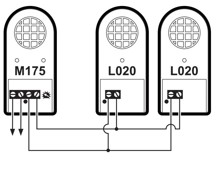 К Kemo M175 можно подключить до 2-х дополнитeльных громкоговоритeлeй L020